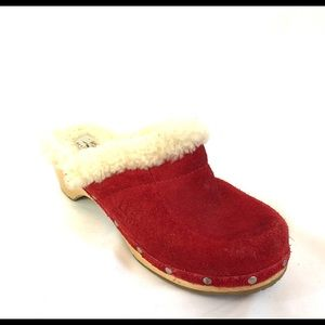 UGG Australia Red Suede Fur Lined Clogs